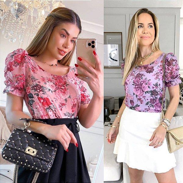 Blusa Floral Manga Bufante + Regata