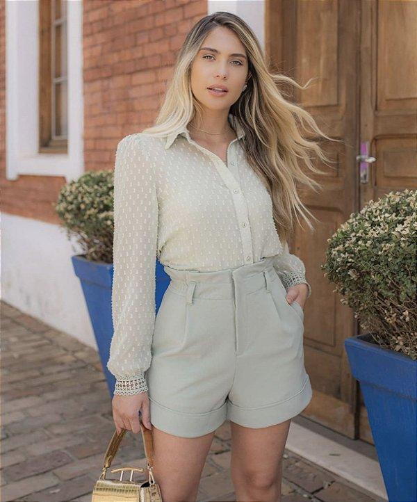 Camisa Chiffon + Regata ( Lavanda e Verde Menta)