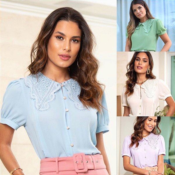 Camisa Crepe Renda - Lilian