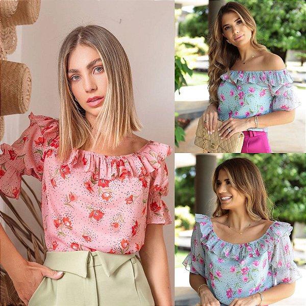 Blusa Crepe Floral - Natana