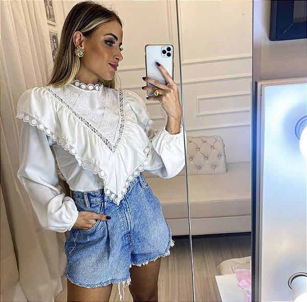 Blusa Crepe Renda - Raquel