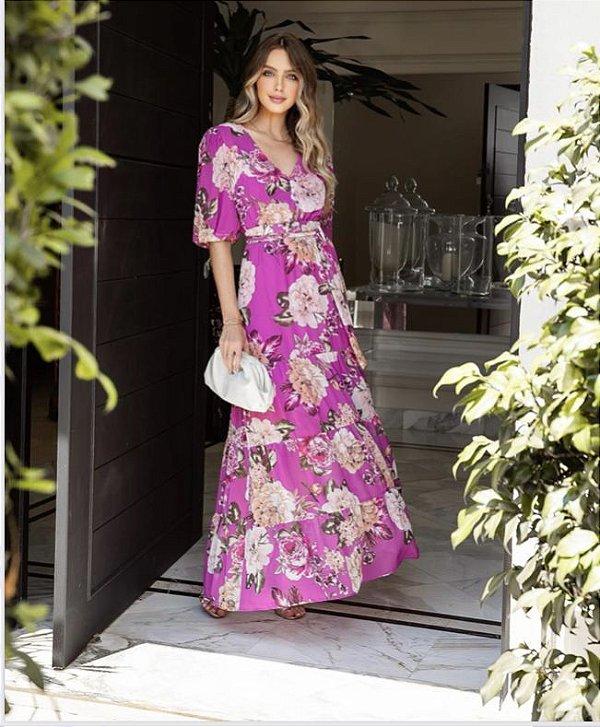 Vestido Crepe Floral Selena