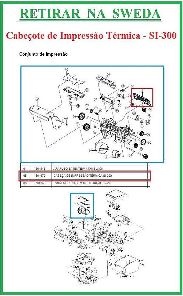 Cabeçote Térmico  de Impressão para SI-300 (S/L/W) - SWEDA {RETIRAR NA FABRICA} *** REVENDA AUTORIZADA ***
