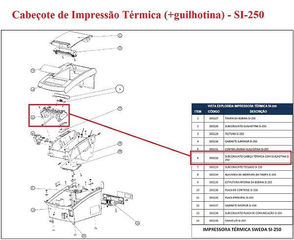 Cabeçote Térmico  de Impressão para SI-250 (com guilhotina) - SWEDA *** REVENDA AUTORIZADA ***