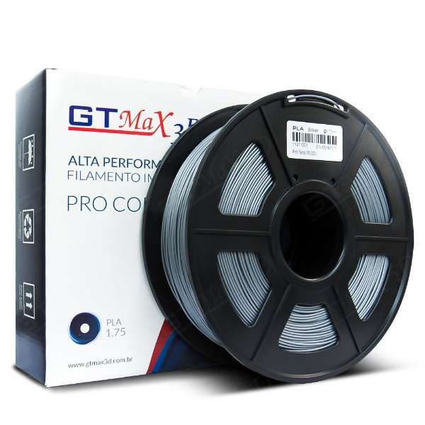 Filamento PLA 1.75mm GTMax3D - Prata 1kg