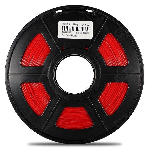 Filamento Flexível TPU 1.75mm GTMax3D - Vermelho 500g