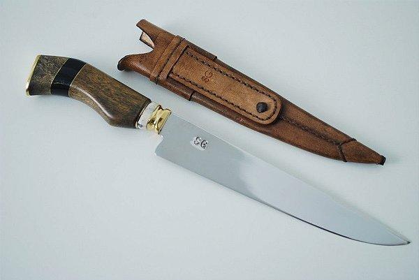 Faca SG 8 polegadas - cabo de madeira detalhes chifre e osso - 206