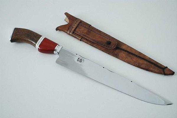 Faca SG 10 polegadas  cabo em madeira e osso bainha em couro