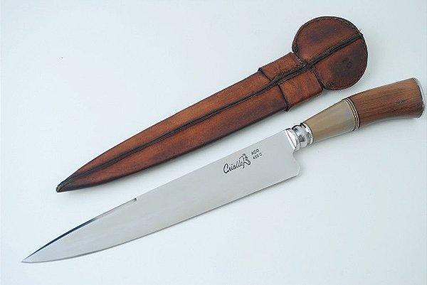 Faca Criolla 10 polegadas forjadas cabo em madeira e chifre