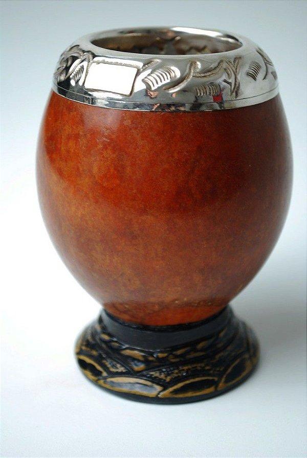 Cuia coquinho com bocal em ouro e prata