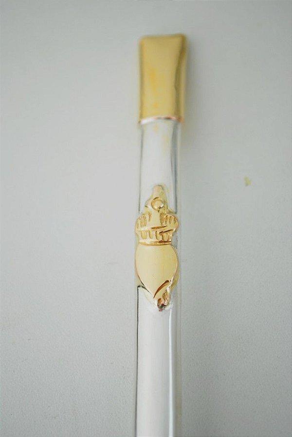 Bomba de chimarrão pequena em ouro e prata