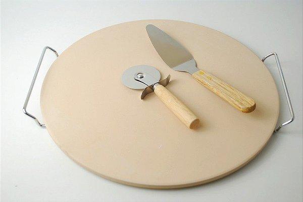 Cerâmica para pizza com suporte cortador pegador