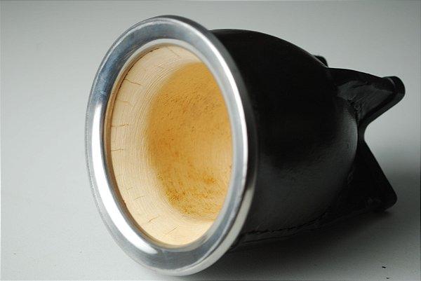 Cuia Torpedo boca virada revestida em couro