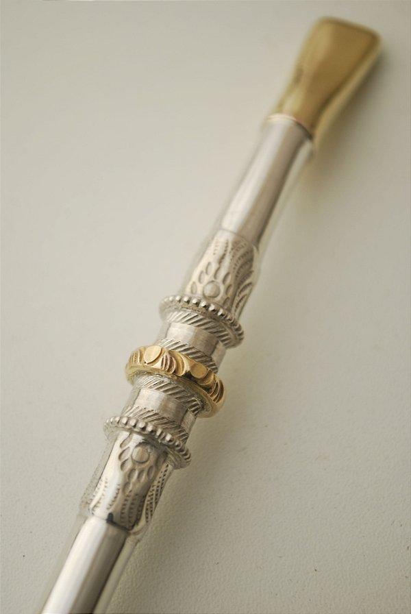 Bomba de chimarrão em ouro e prata - 206.