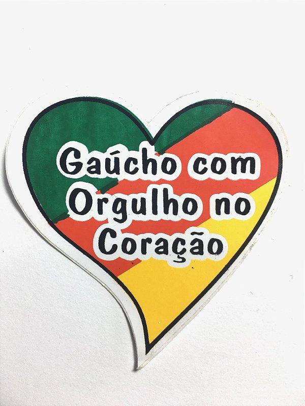 Adesivo 5,5 cm x 6 cm - Gaucho com orgulho no coração - 207