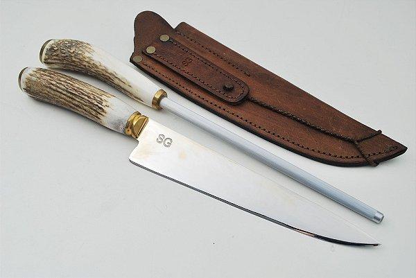 Conjunto faca e chaira SG 8 polegadas cabo de chifre de cervo