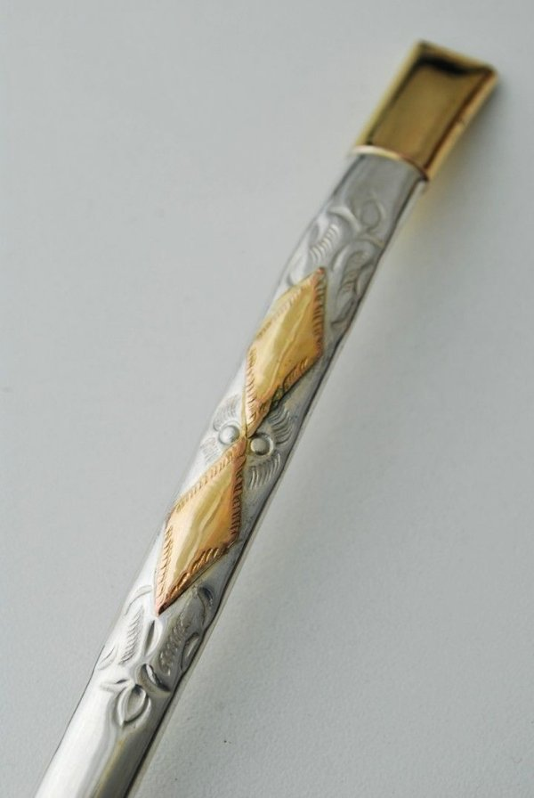 Bomba de chimarrão em ouro e prata com 2 chapas
