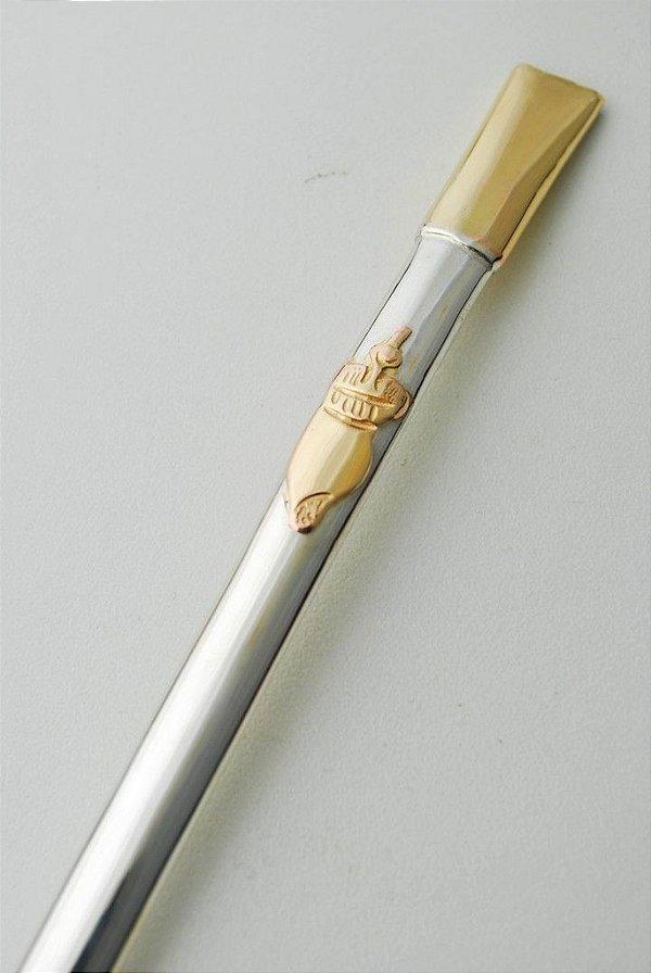 Bomba de chimarrão em ouro e prata 1 chapa