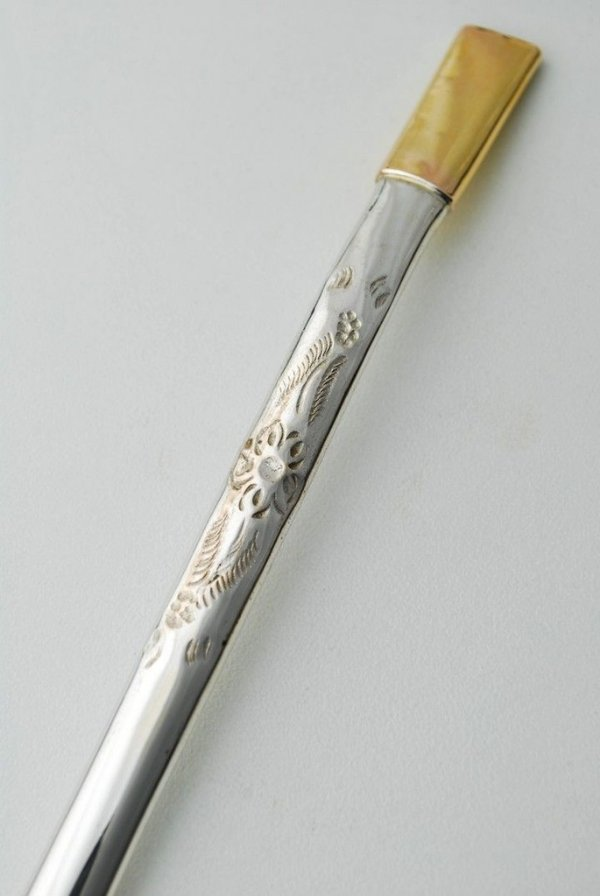 Bomba de chimarrão em ouro e prata Pequena