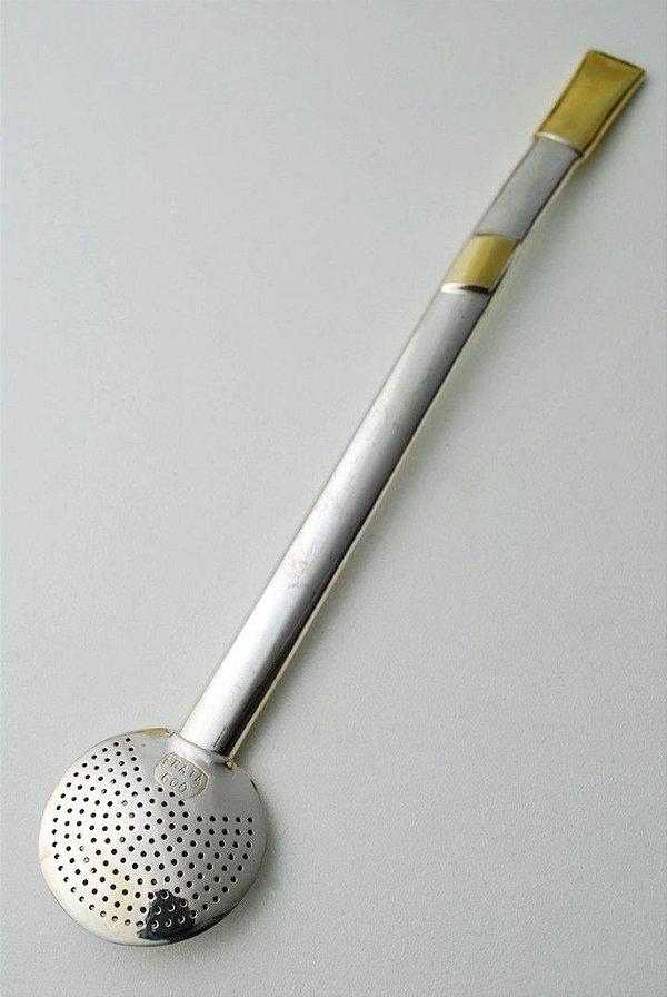 Bomba de chimarrão em Ouro e Prata Pequena - 205