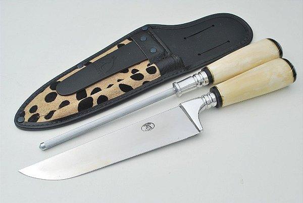 Conjunto faca e chaira 93/8 aço inox 420 cabo osso luxo