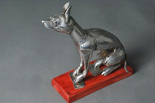 Escultura de Cachorro em solda e aço inox