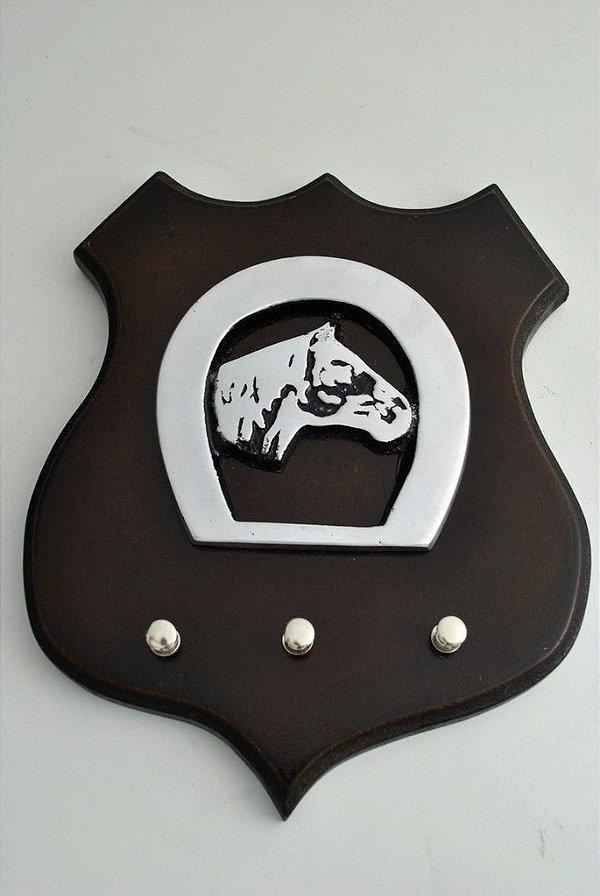 Porta Chave em madeira e alumínio fundido