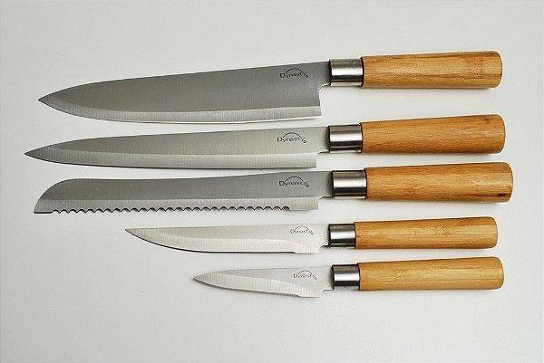 Cepo 5 facas aço inox bambu
