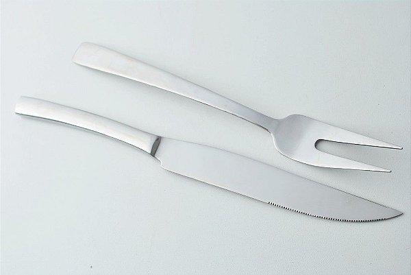 Faca e garfo para trinchar em aço inox