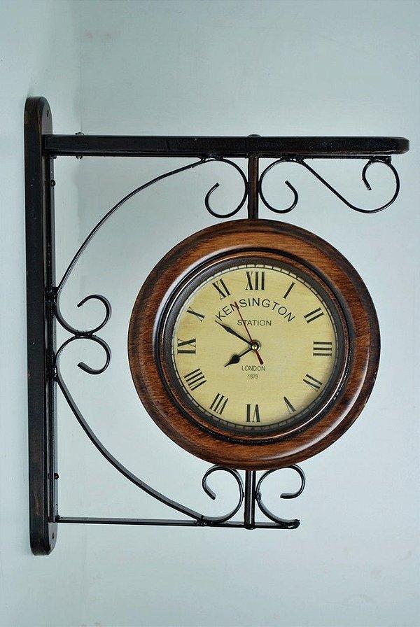 Relógios de Estação 26 cm de diâmetro em ferro e madeira
