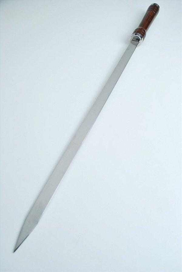 Espeto Largo 75 cm de lamina  em aço inox e cabo em madeira nobre