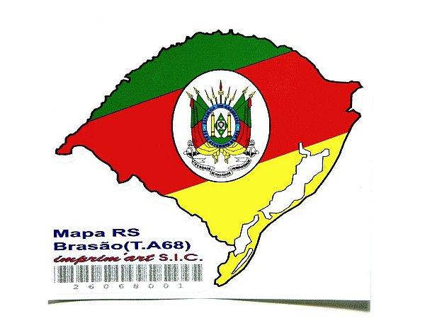Adesivo  11cm x 9,5cm Mapa com brasão Rio Grande Do Sul