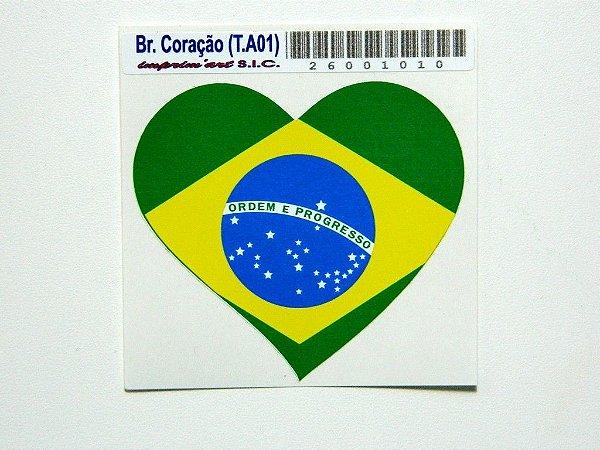 Adesivo 6,5 cm Brasil  Coração