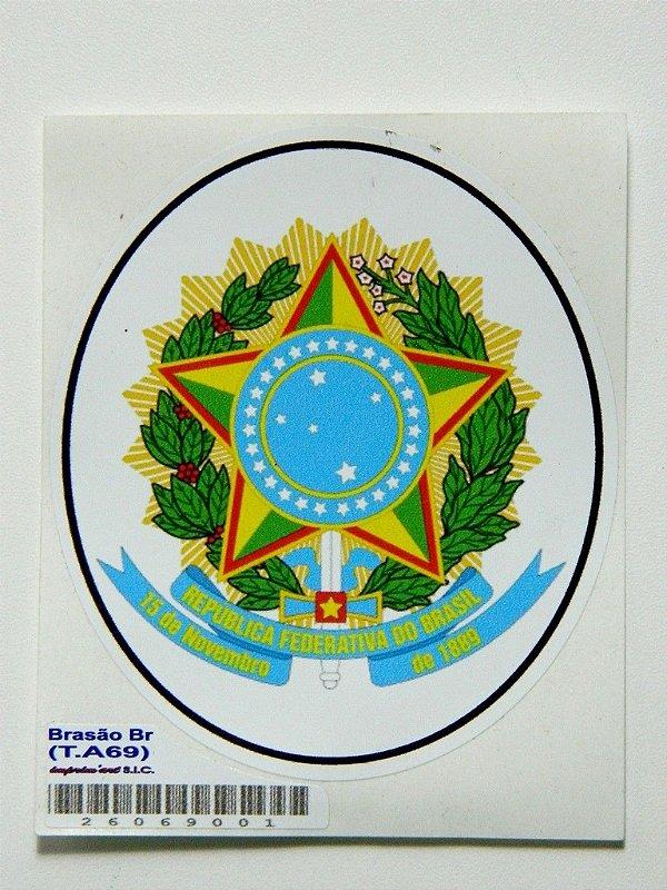 Adesivo 9 cm Brasão Republica Federativa Do Brasil - 207