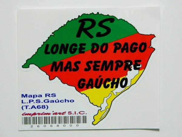Adesivo 10,5cm x9,5 cm Mapas do Rio Grande