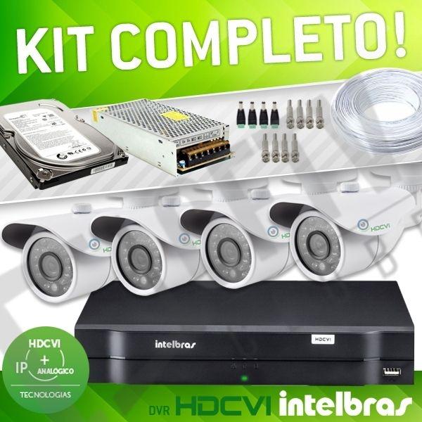 KIT HDCVI COM DVR INTELBRAS - 4 CANAIS - COMPLETO