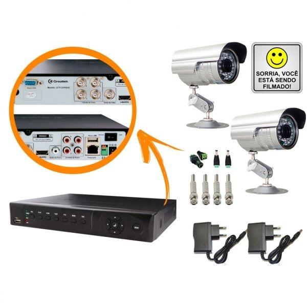 KIT DVR STAND ALONE 4 CANAIS - P2P/NUVEM + 2 CÂMERAS INFRAVERMELHO + FONTES + CONECTORES