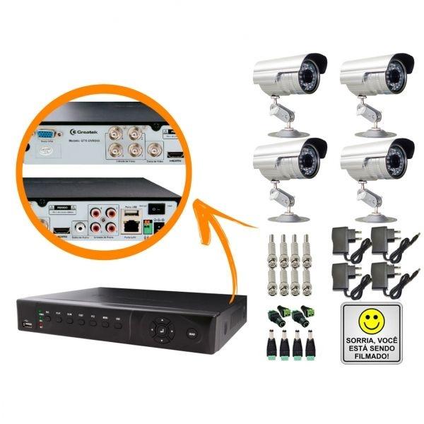 KIT DVR STAND ALONE 4 CANAIS - P2P/NUVEM + 4 CÂMERAS INFRAVERMELHO + FONTES + CONECTORES