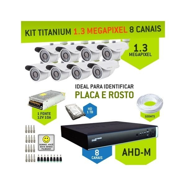 KIT TITANIUM AHD-M COM 8 CANAIS - ALTA DEFINIÇÃO EM 1.3 MEGAPIXEL