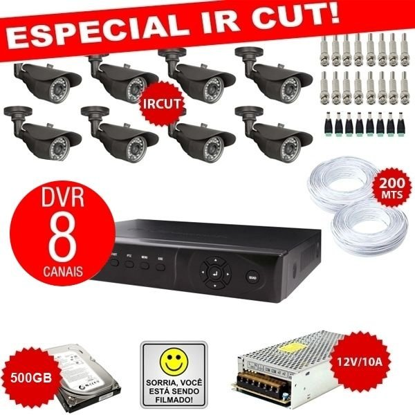 KIT EXCLUSIVO COM DVR STAND ALONE 8 CANAIS + 8 CÂMERAS IRCUT + FONTES + CONECTORES
