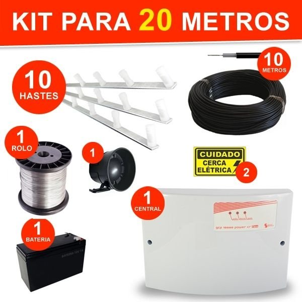 KIT COMPLETO CERCA ELÉTRICA 4 FIOS - PARA 20 METROS