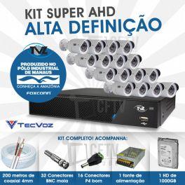 KIT SUPER AHD ALTA DEFINIÇÃO 16 CANAIS COM 16 CÂMERAS TECVOZ TVZ COMPLETO