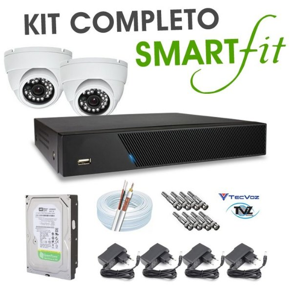KIT COMPLETO SMART FIT DVR AHD 4 CANAIS - ACESSO INTERNET