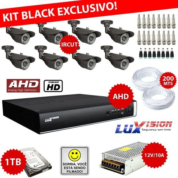 KIT EXCLUSIVO BLACK LUXVISION - DVR STAND ALONE 8 CANAIS AHD + 8 CÂMERAS IRCUT + FONTES + CONECTORES