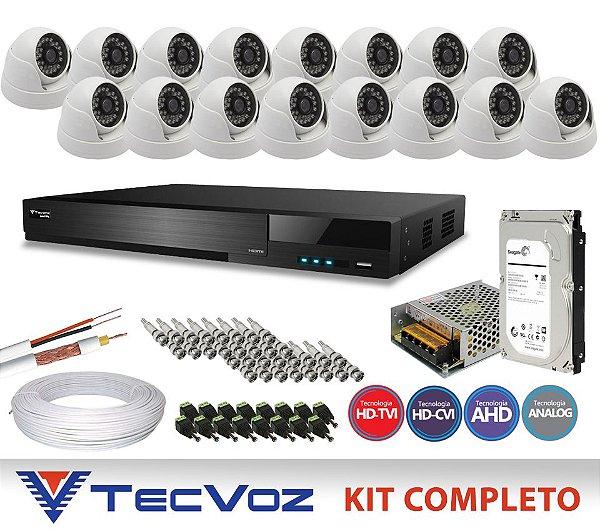 KIT FLEX HD TECVOZ 16 CANAIS COM 16 CÂMERAS DOME 4 EM 1 COMPLETO