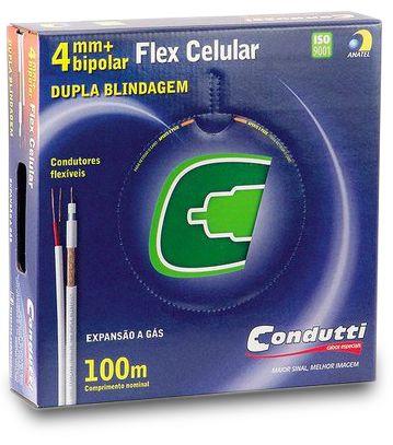 CABO COAXIAL FLEX CELULAR DUPLA BLINDAGEM 4mm BIPOLAR 95% MALHA COBRE - 100m - CONDUTTI