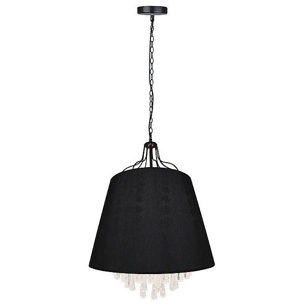 P15161A-1-Black – Pendente preto tecido e vidro - Atacadista - Premier Iluminação
