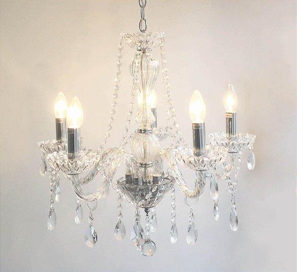 P13253-5 – Lustre cristal transparente 5 braços - Atacadista - Premier Iluminação