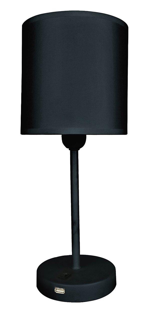 F15001A-1T-Black – Luminária preta plug liga desliga na base - Atacadista - Premier Iluminação