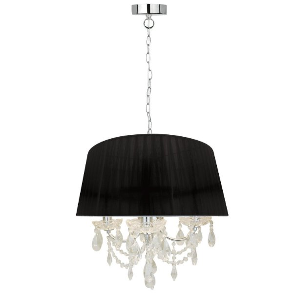 P16154-3-Black – Pendente Lustre tecido preto e cristal - Atacadista - Premier Iluminação